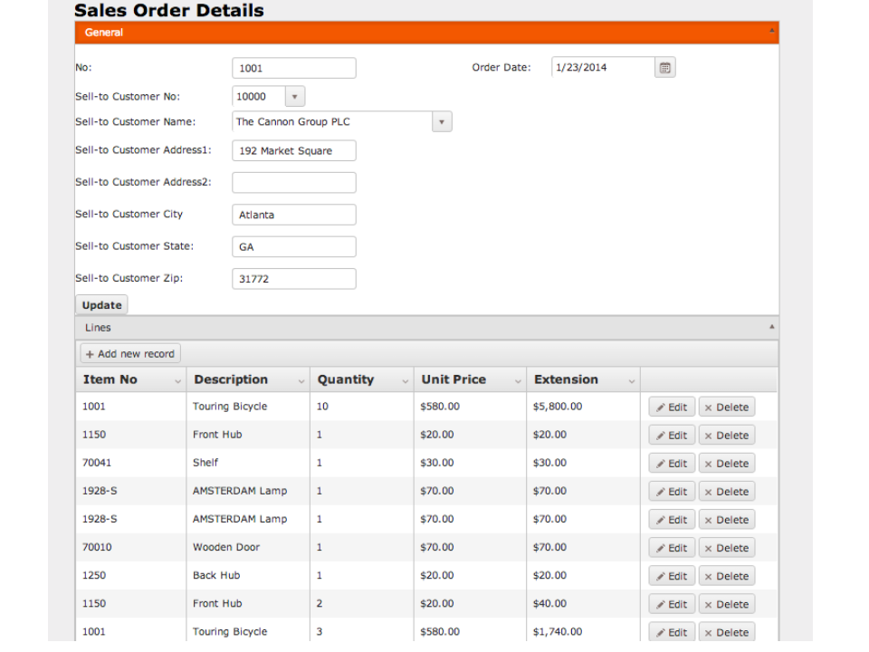 Dynamics NAV mobile sales screen shot