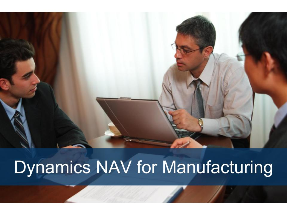 Dynamics NAV for Manufacturing image