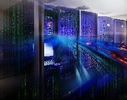 futuristic supercomputer cluster in data center with the railway lines and binary code