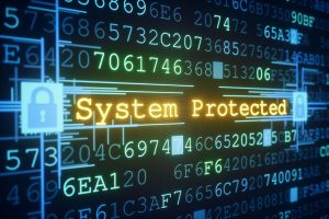 "An abstract IT design concept of system or data protection. A central glowing message of ""System Protected"" is informing the user about the security status. Padlocks on both sides of the message are shown in a locked state, affecting the whole system. Everything is situated inside a hexadecimal code ""data-block""."