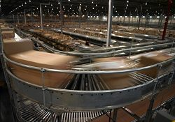 Boxes speed by on the conveyor system at a warehouse.